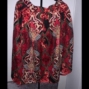 New! Scuba mix print flare skirt